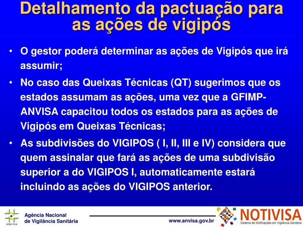 Detalhamento da pactuação para              as ações de vigipós