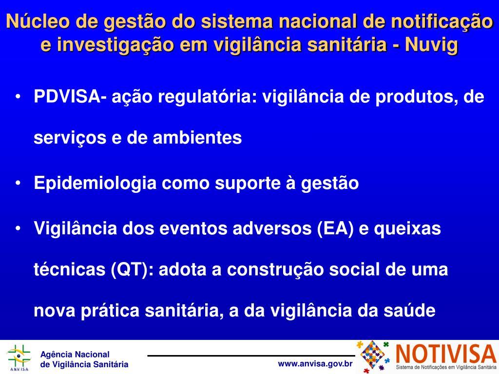 PDVISA- ação regulatória: vigilância de produtos, de serviços e de ambientes