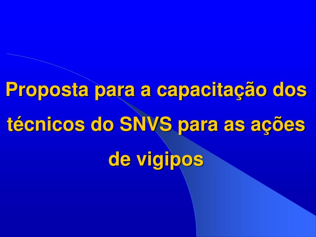 Proposta para a capacitação dos técnicos do SNVS para as ações de vigipos