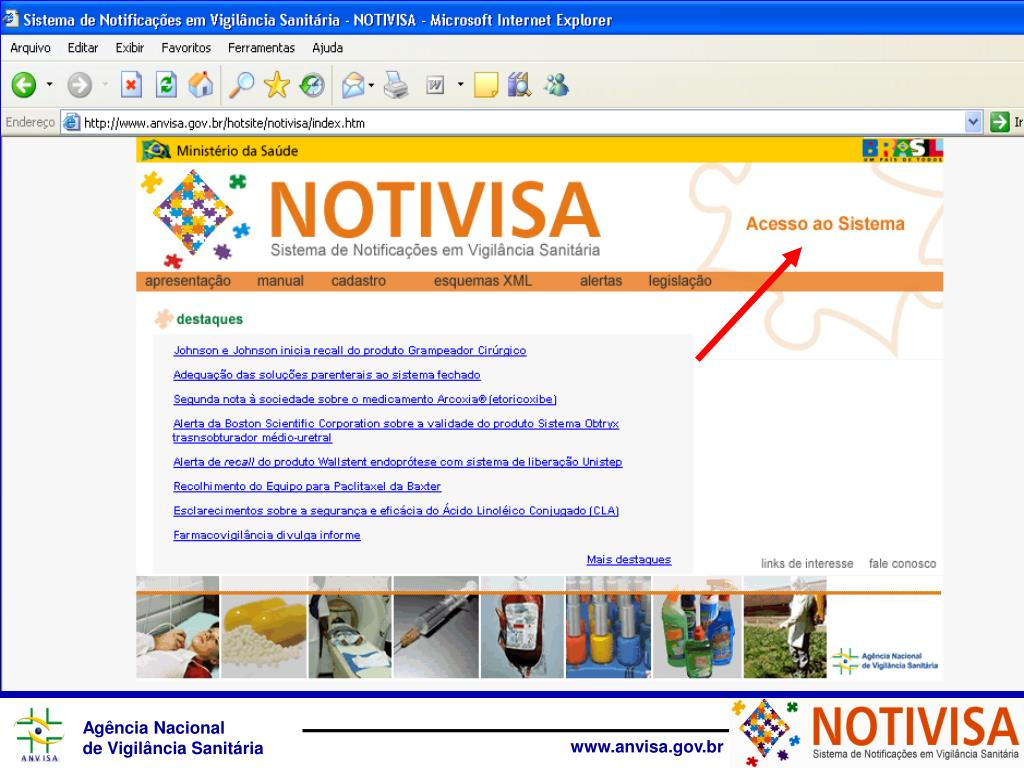 Tela do Notivisa