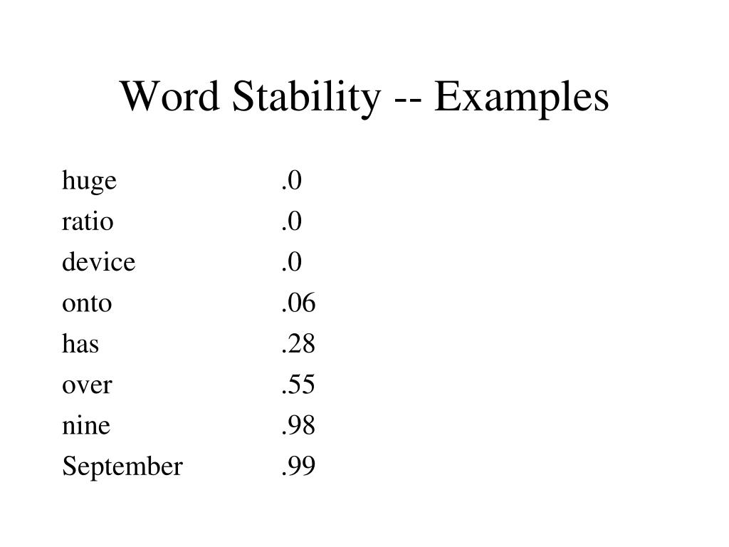 PPT - Text Categorizat... Word Stability