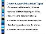 course lecture discussion topics
