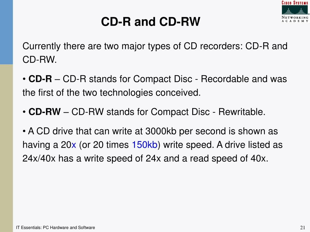 CD-R and CD-RW