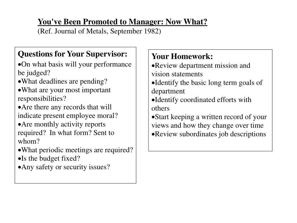 You've Been Promoted to Manager: Now What?