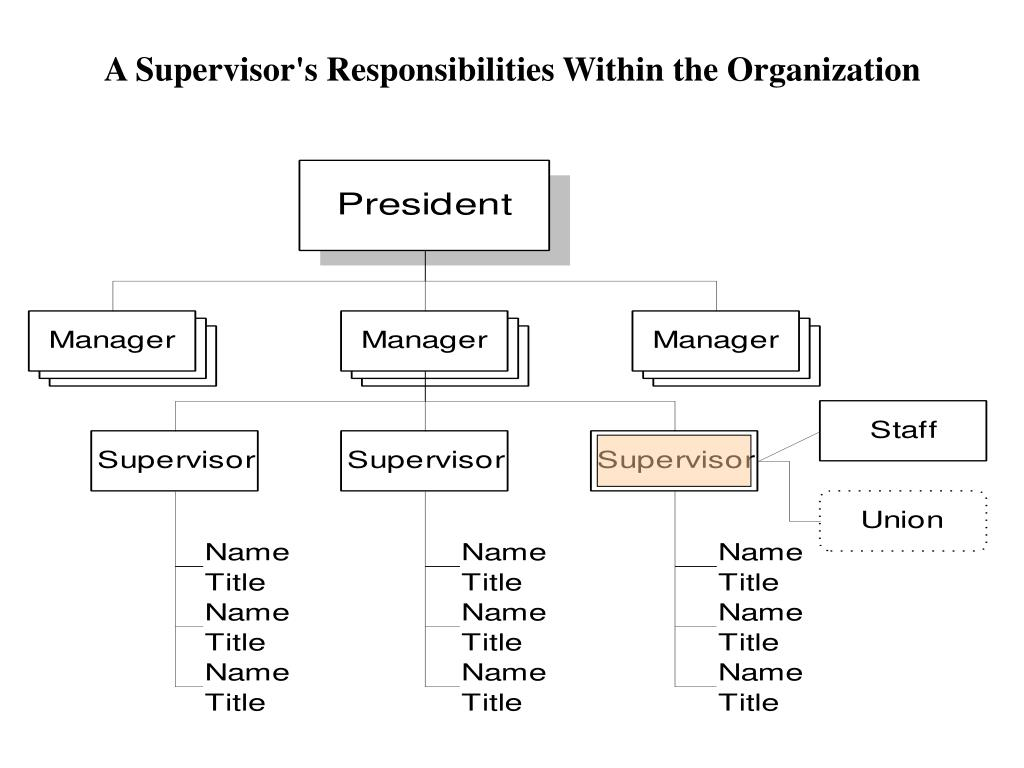 A Supervisor's Responsibilities Within the Organization
