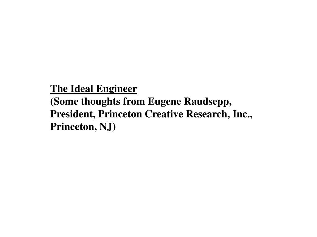 The Ideal Engineer