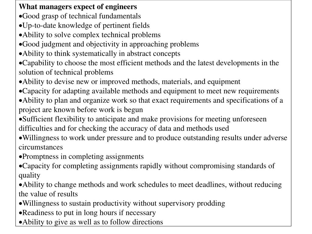 What managers expect of engineers