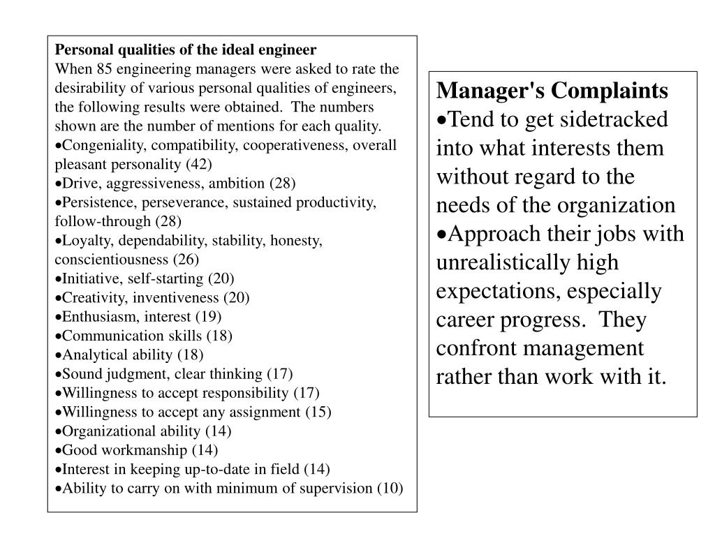 Personal qualities of the ideal engineer