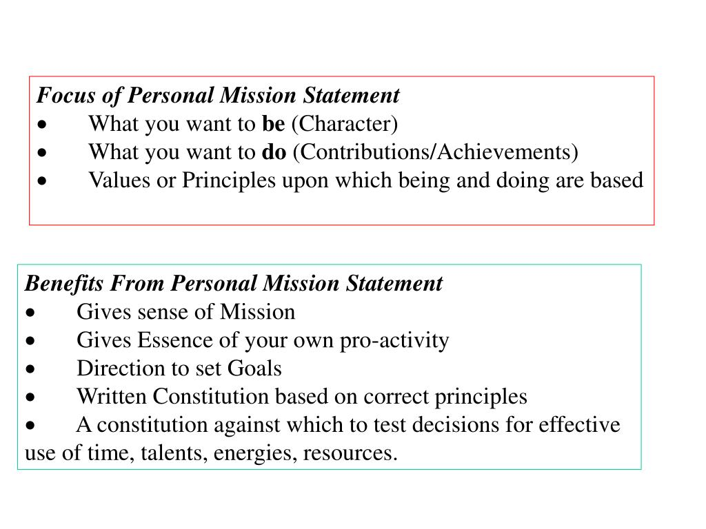 Focus of Personal Mission Statement