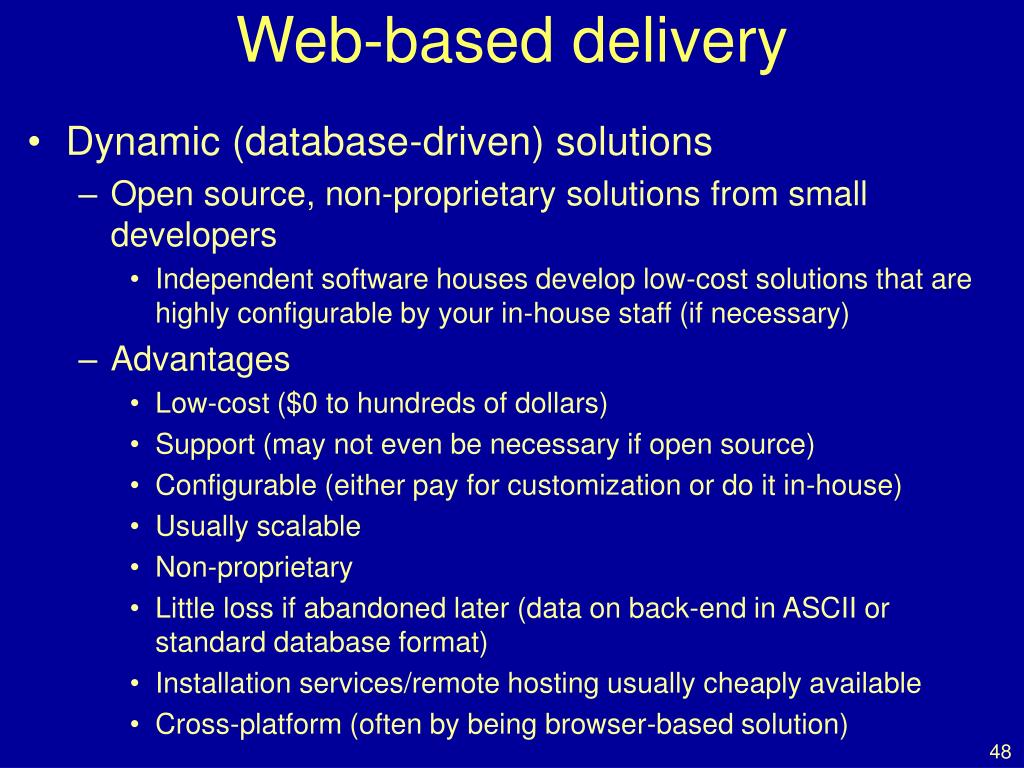 Web-based delivery