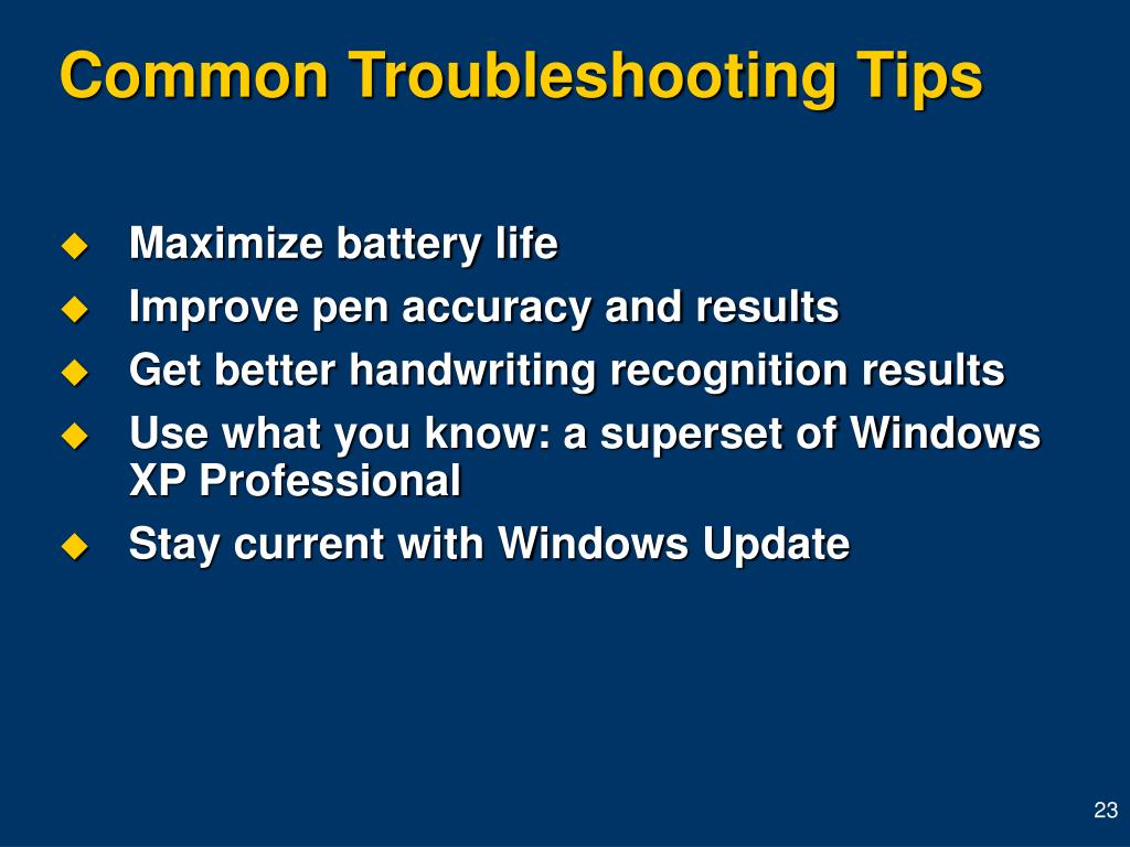 Common Troubleshooting Tips