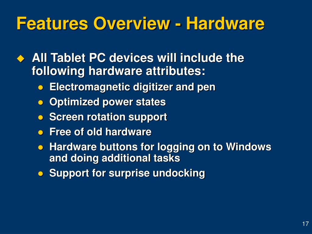 Features Overview - Hardware
