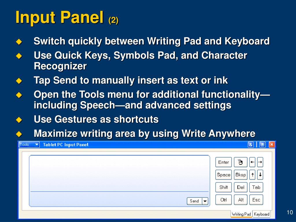 Input Panel