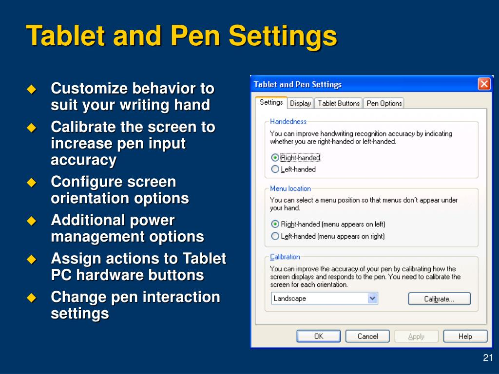 Tablet and Pen Settings