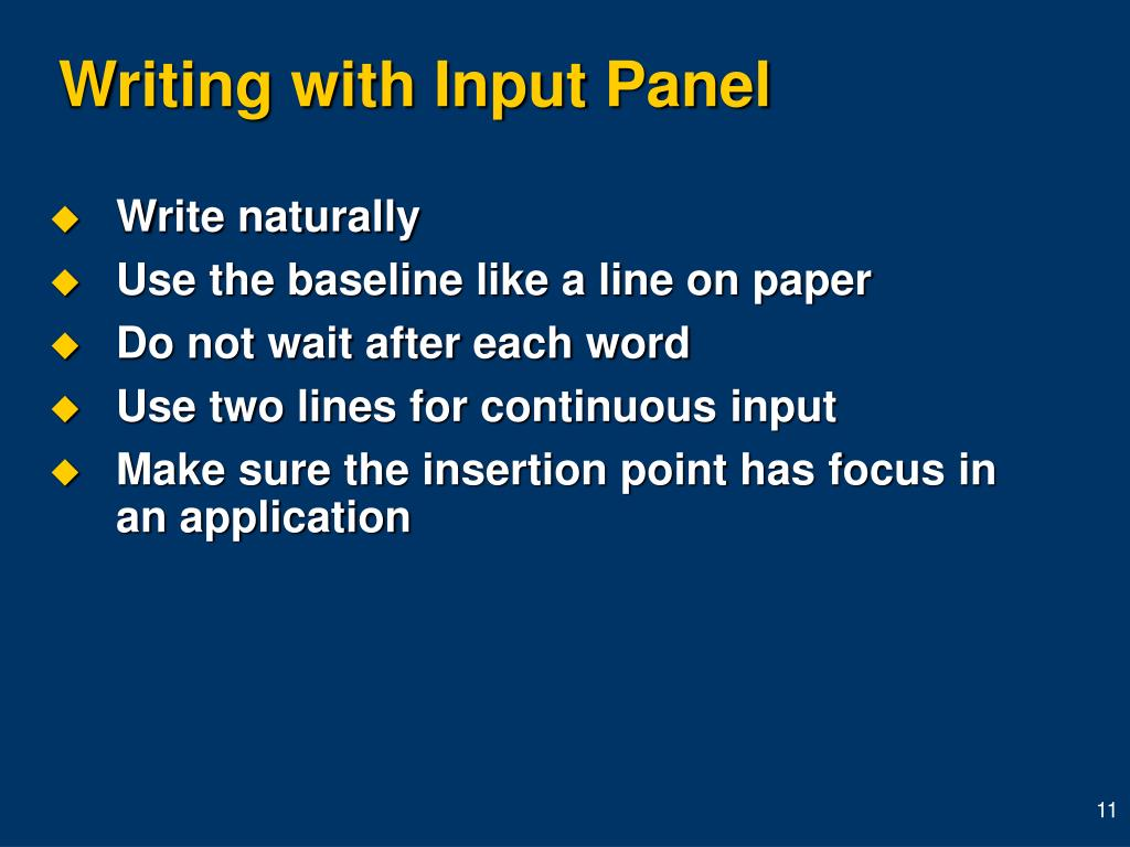 Writing with Input Panel