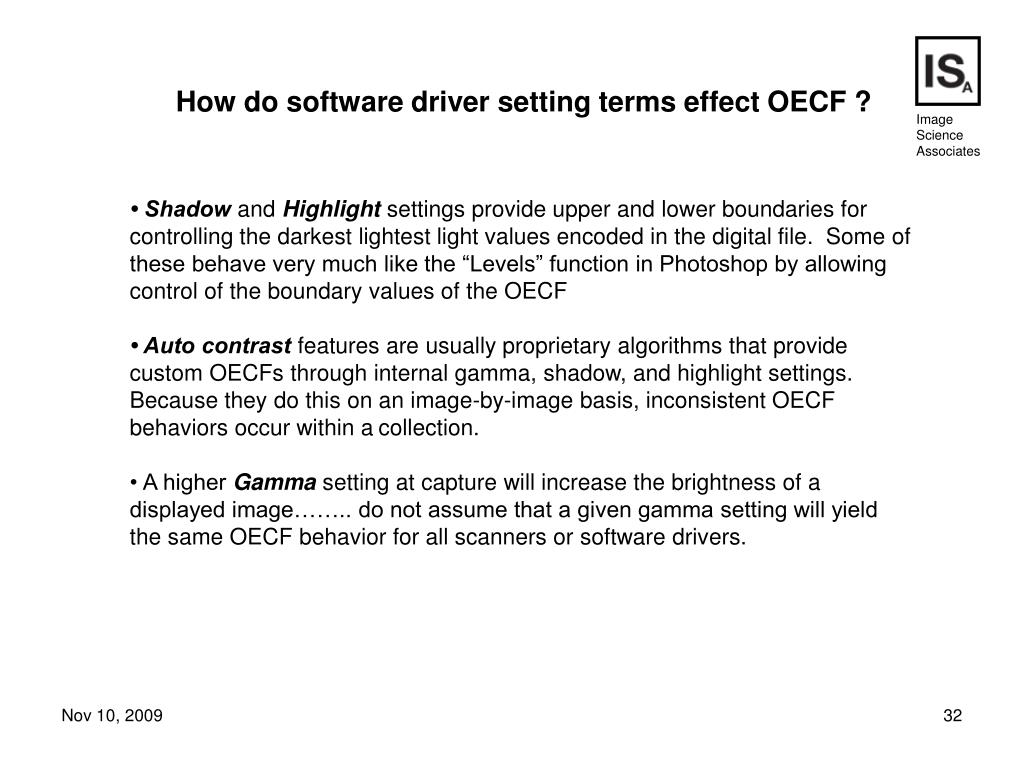 How do software driver setting terms effect OECF ?
