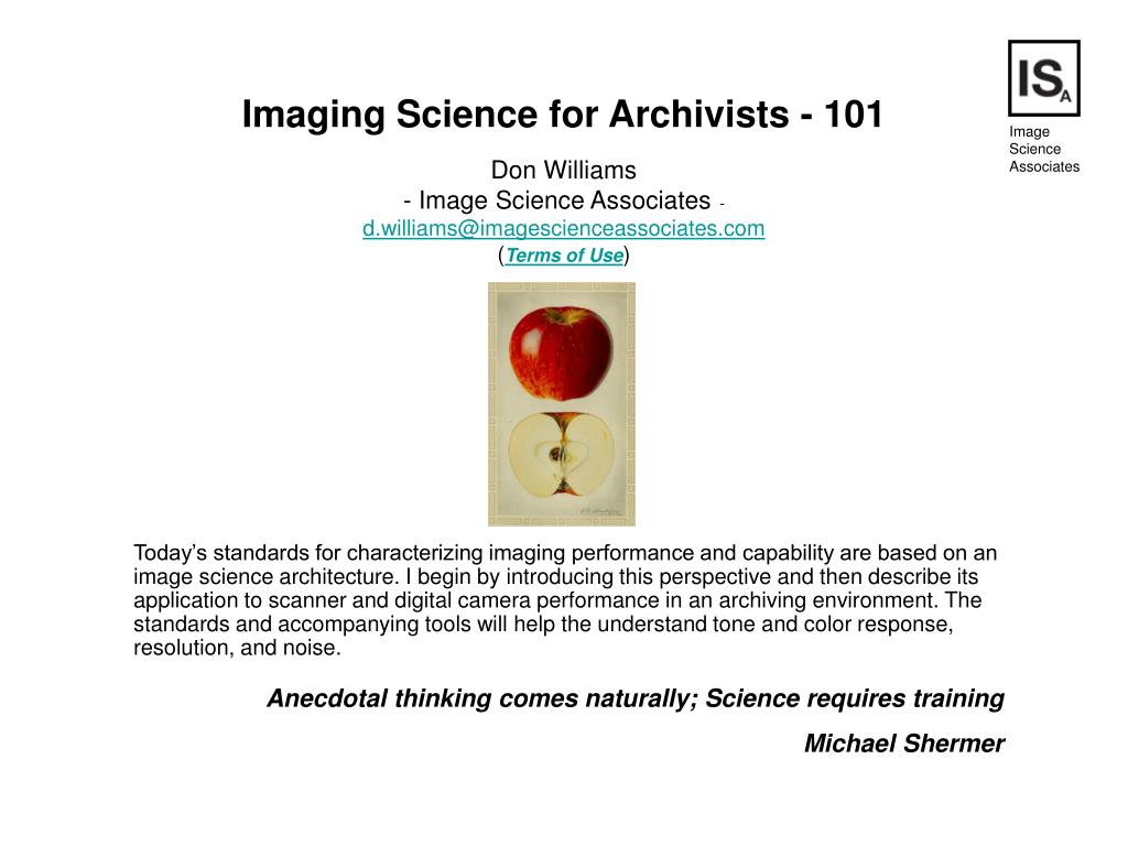 Imaging Science for Archivists - 101