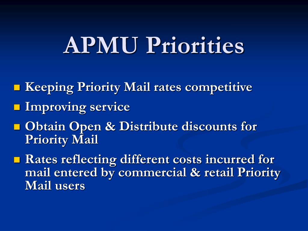 APMU Priorities