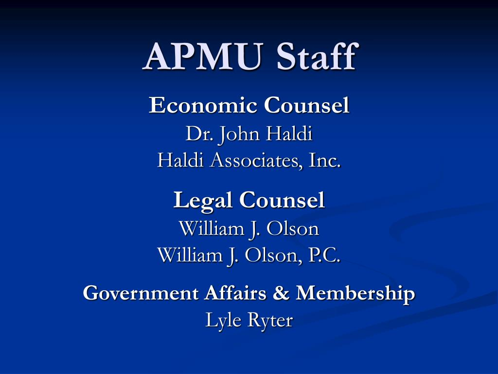 APMU Staff