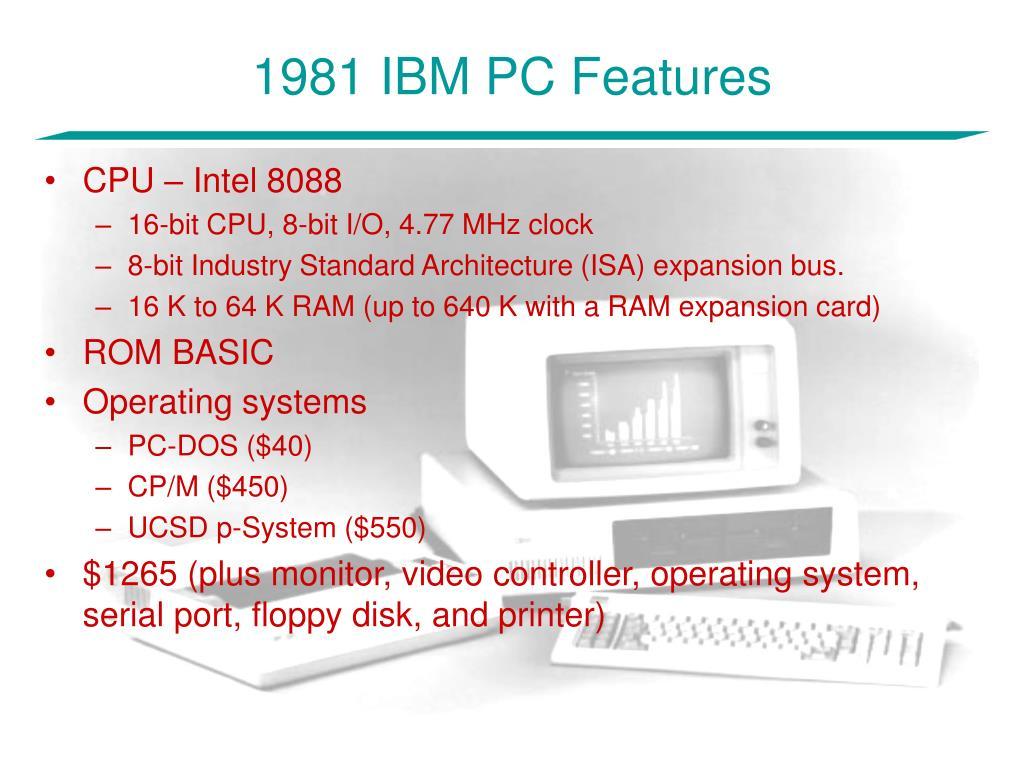1981 IBM PC Features