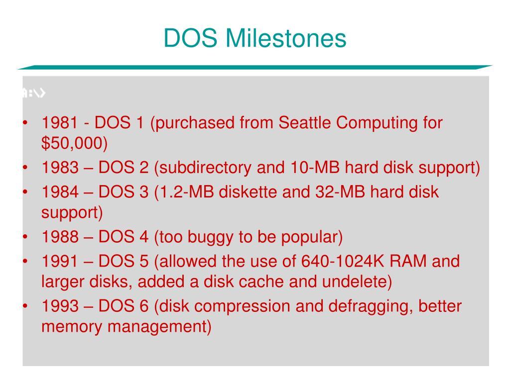 DOS Milestones