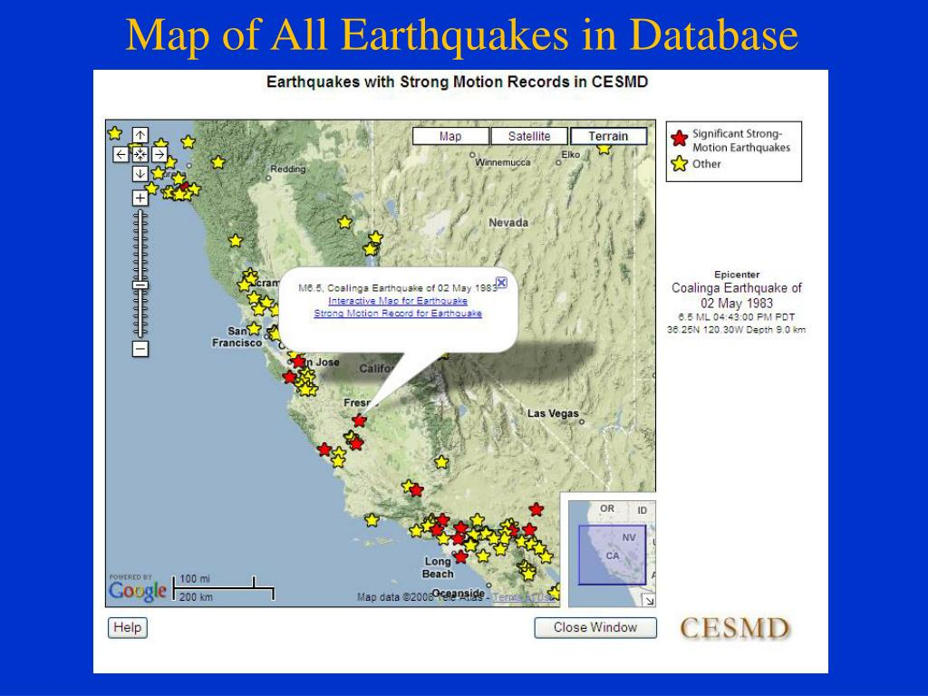 Map of All Earthquakes in Database