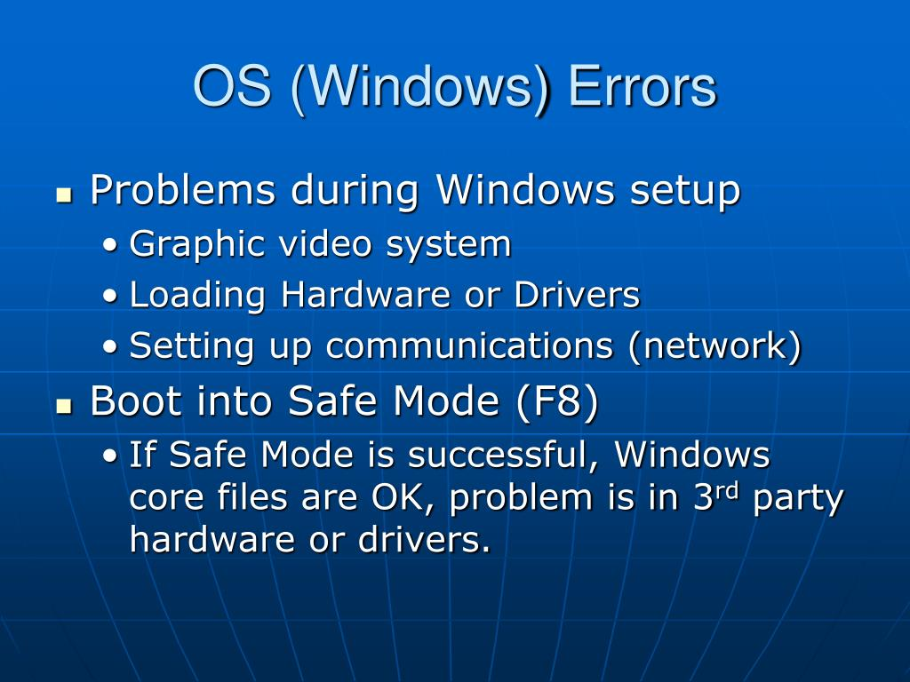 OS (Windows) Errors