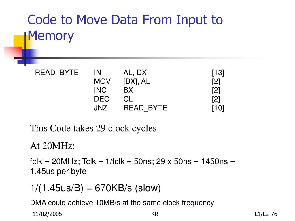 Code to Move Data From Input to Memory