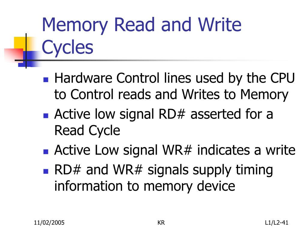 Memory Read and Write Cycles