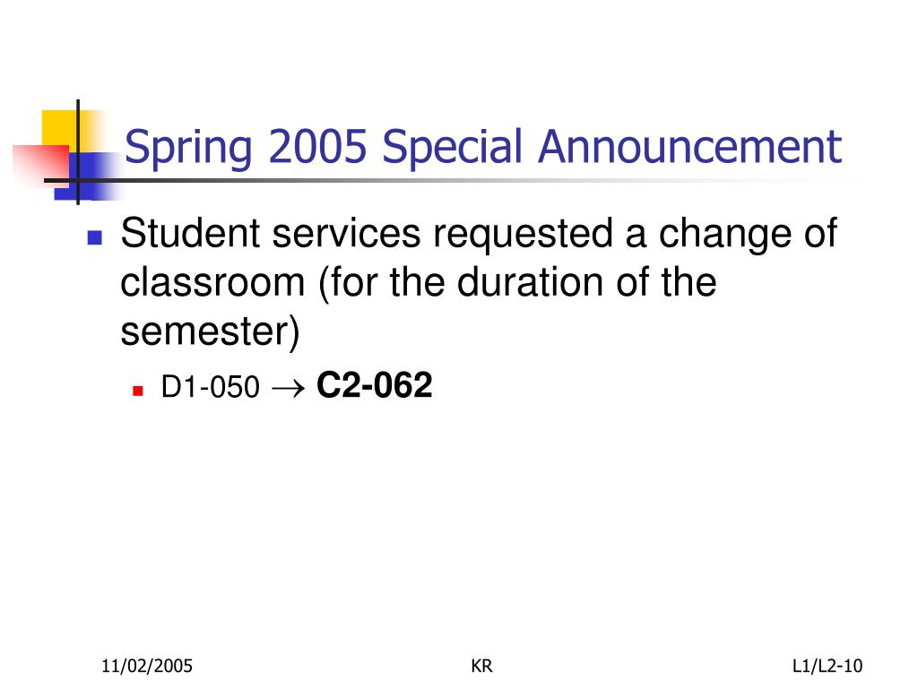 Spring 2005 Special Announcement