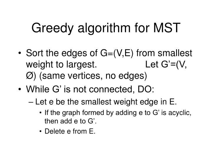 Greedy algorithm for MST