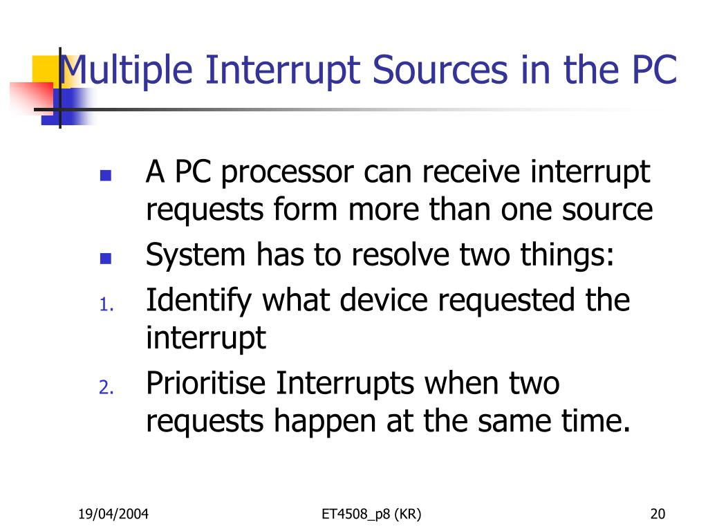 Multiple Interrupt Sources in the PC