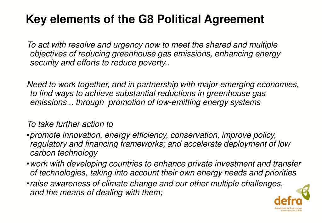 Key elements of the G8 Political Agreement