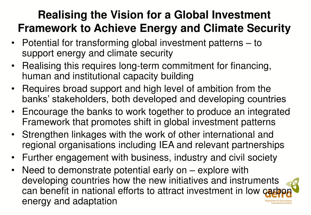 Realising the Vision for a Global Investment Framework to Achieve Energy and Climate Security