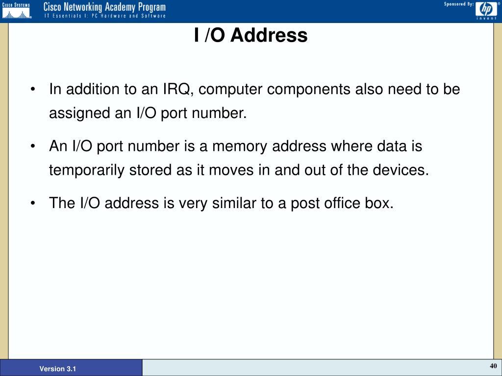 I /O Address
