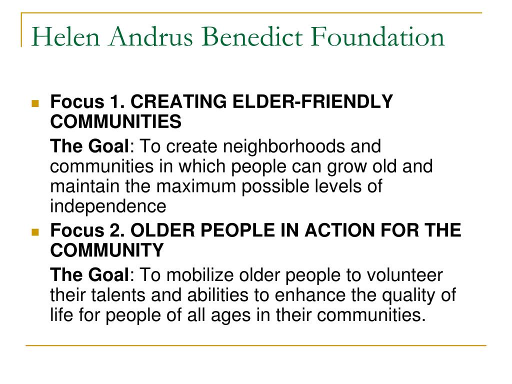 Helen Andrus Benedict Foundation