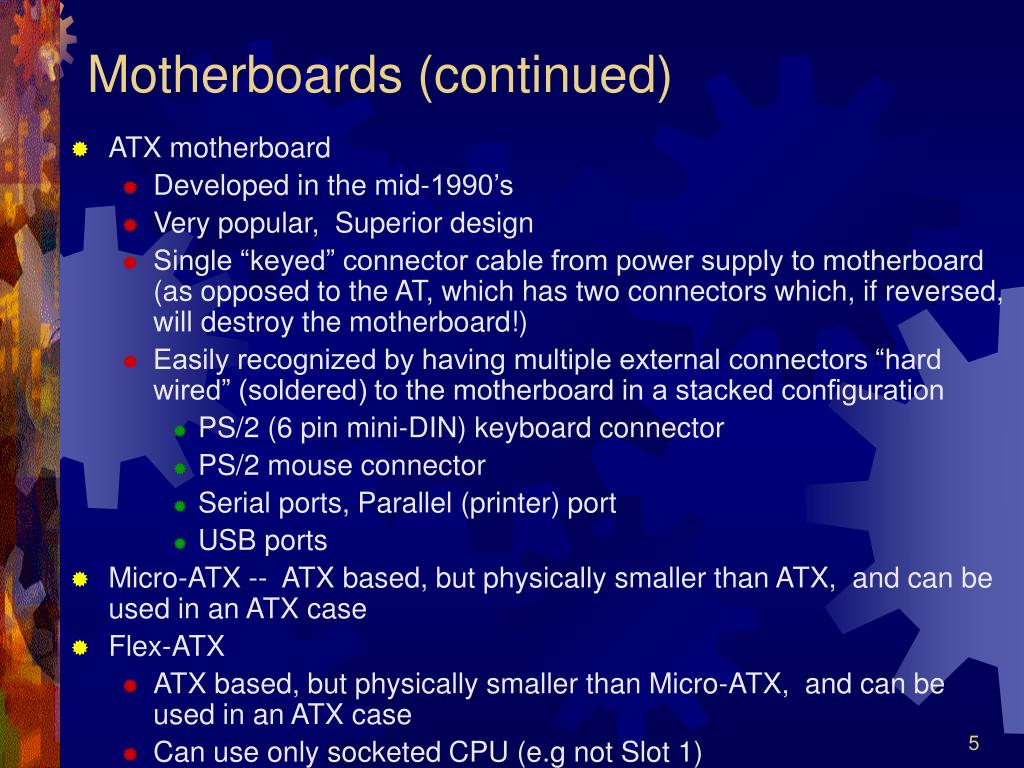 Motherboards (continued)