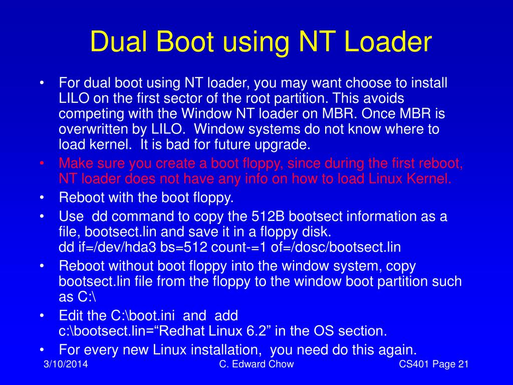 Dual Boot using NT Loader