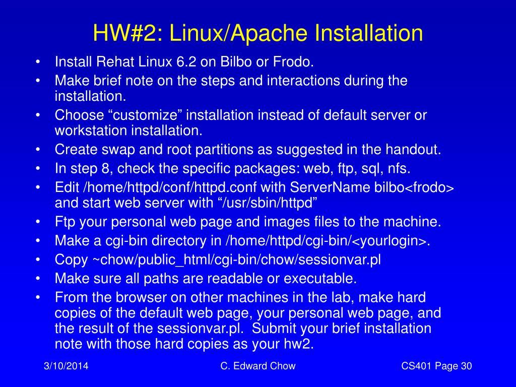 HW#2: Linux/Apache Installation