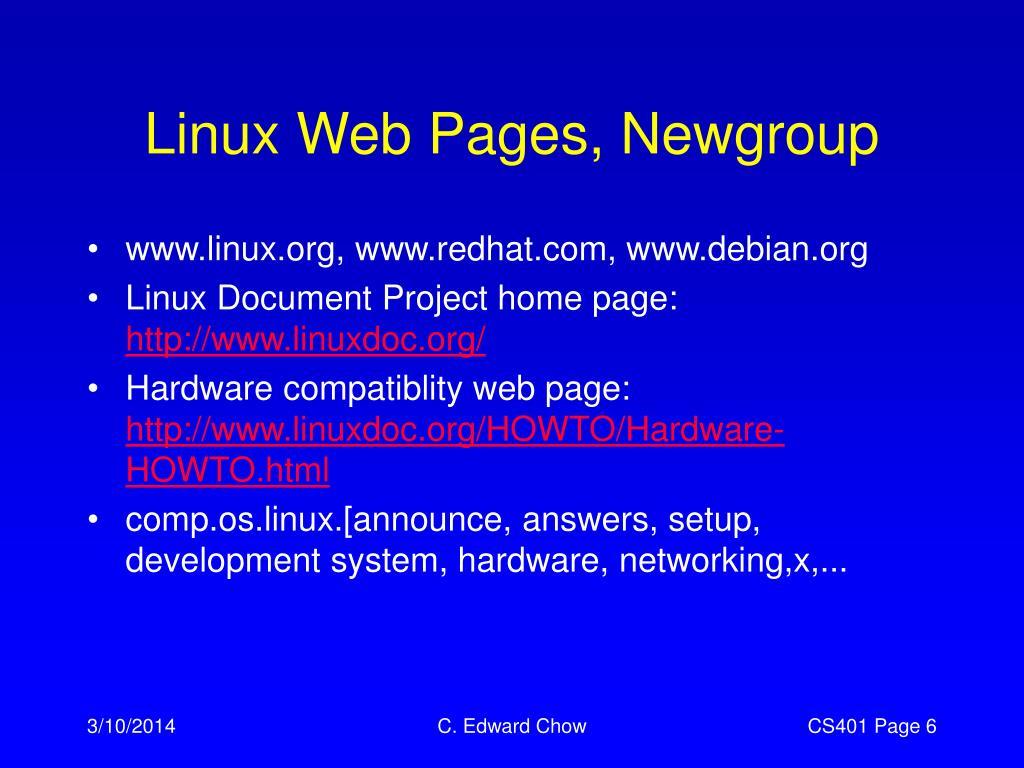 Linux Web Pages, Newgroup