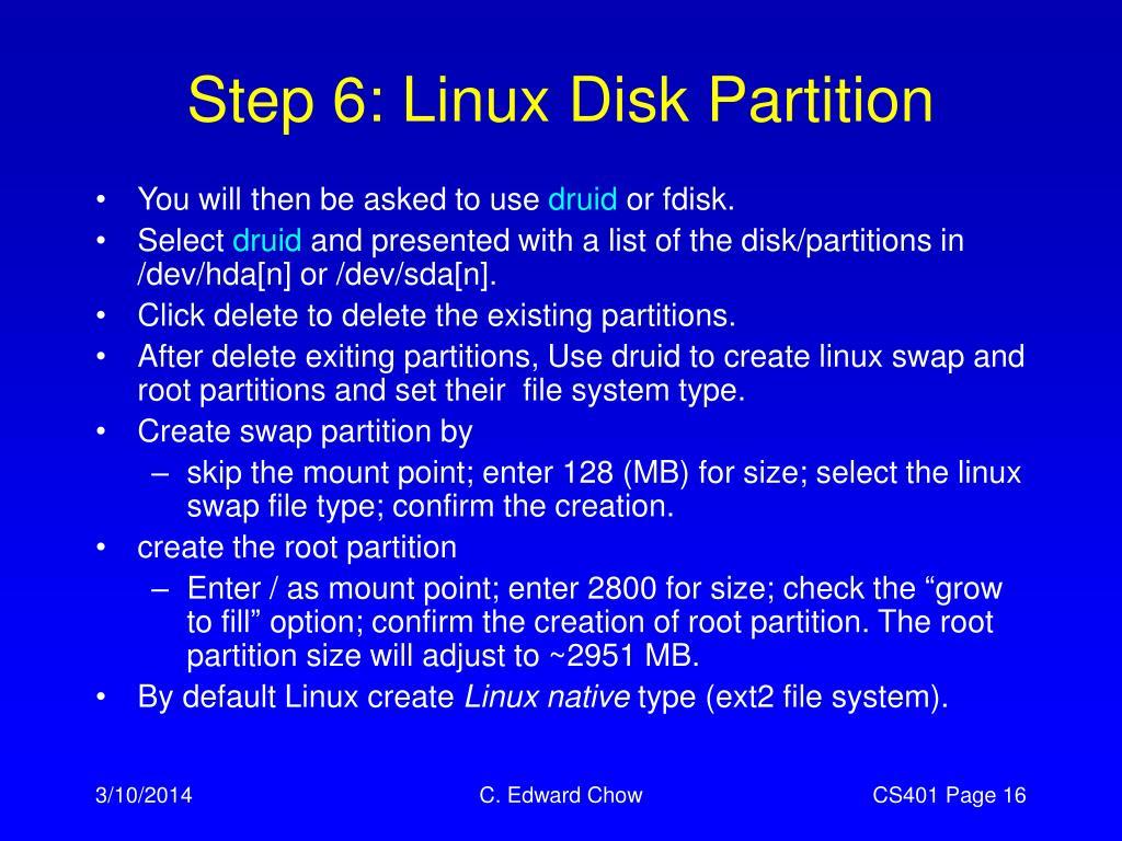 Step 6: Linux Disk Partition