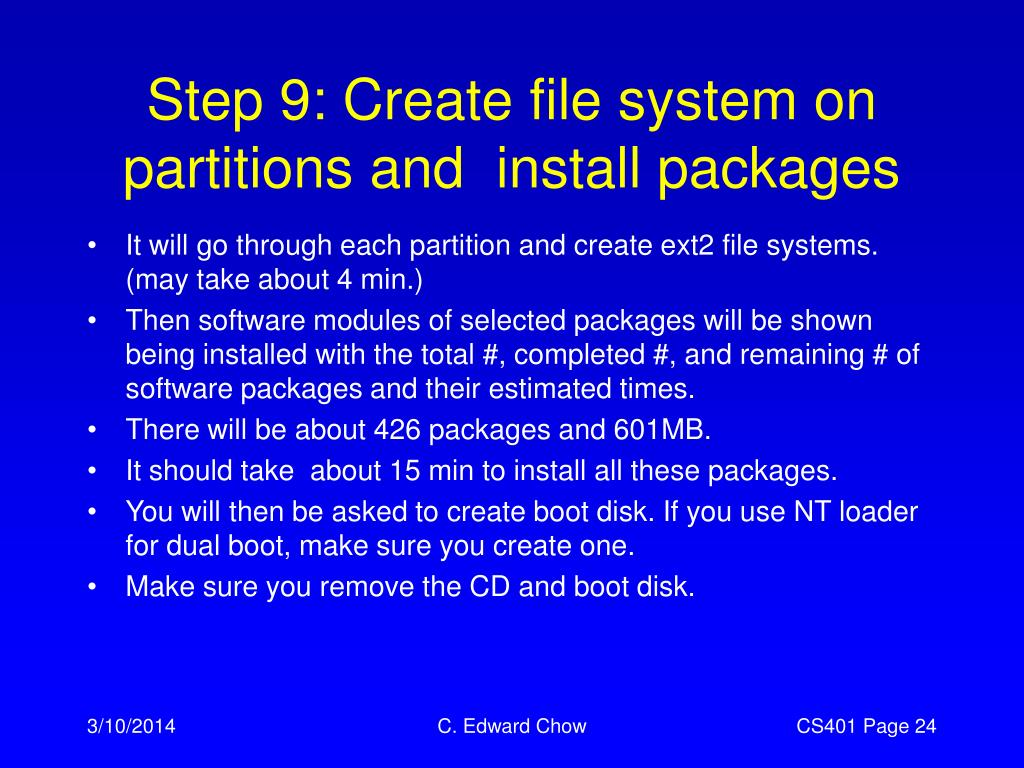 Step 9: Create file system on partitions and  install packages