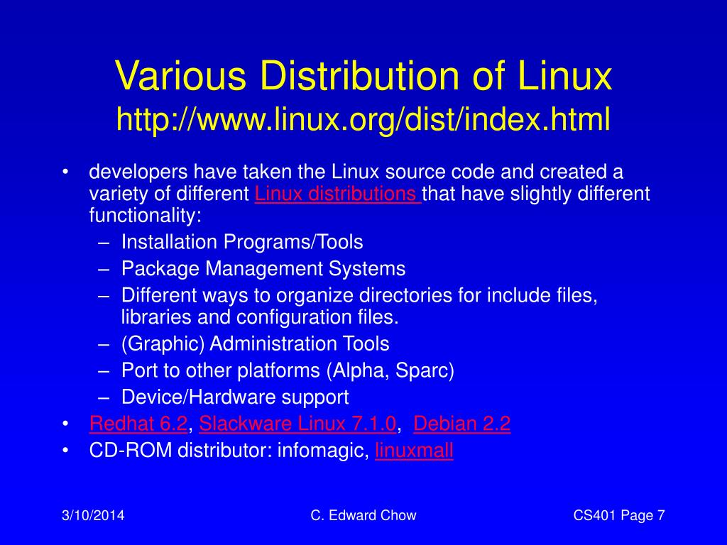 Various Distribution of Linux