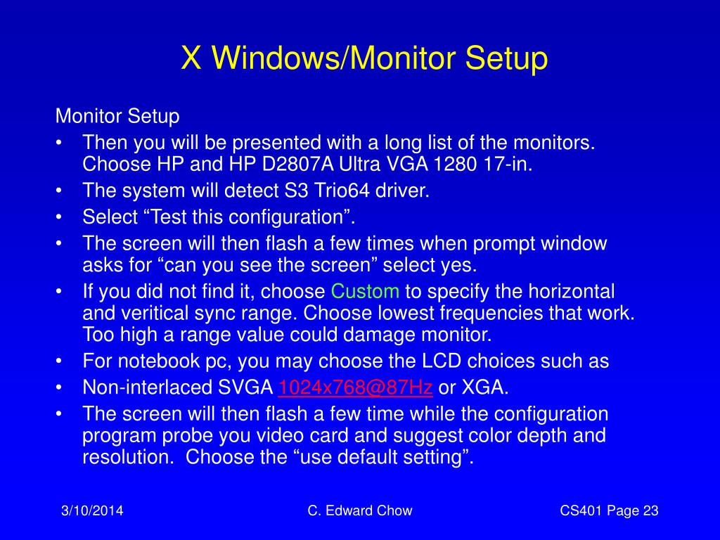 X Windows/Monitor Setup