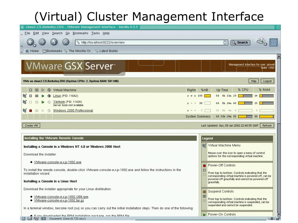 (Virtual) Cluster Management Interface