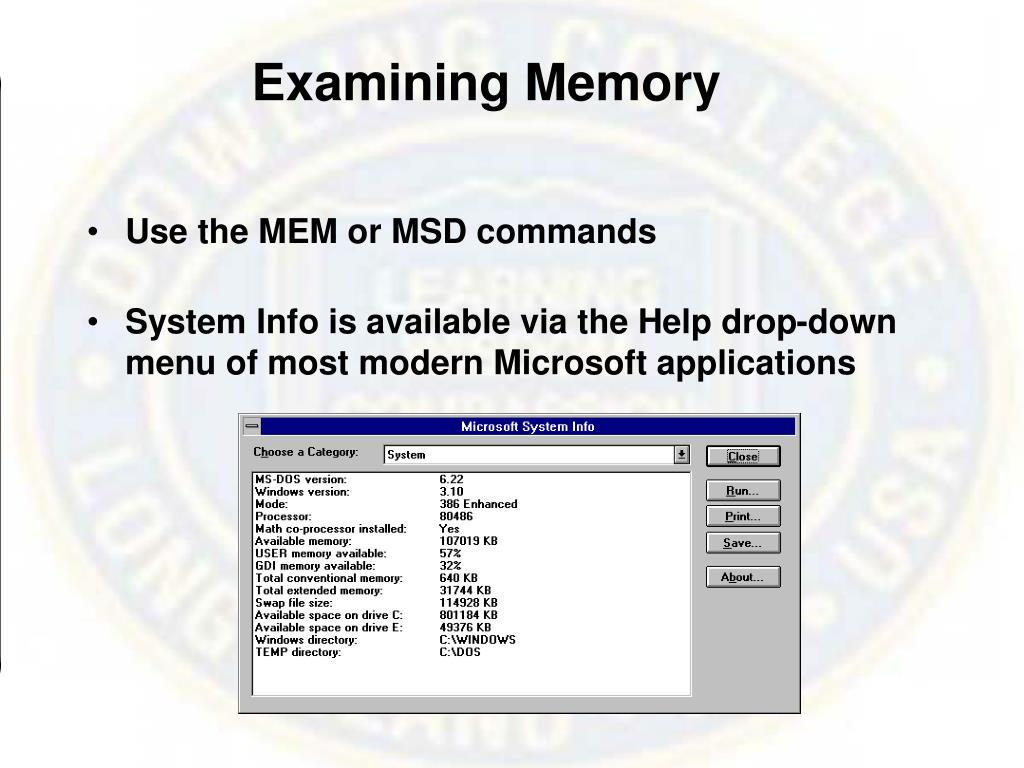Examining Memory