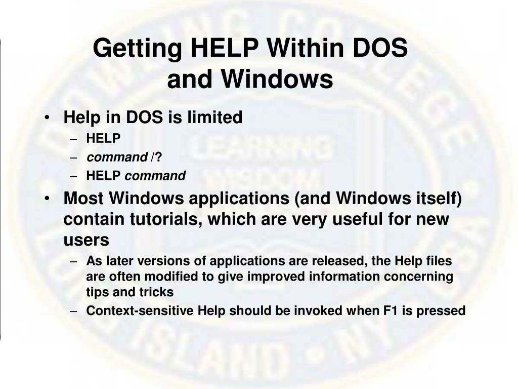 Getting HELP Within DOS