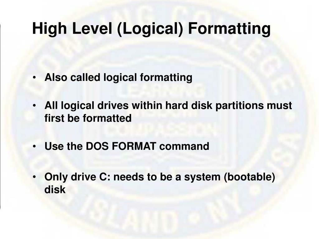 High Level (Logical) Formatting