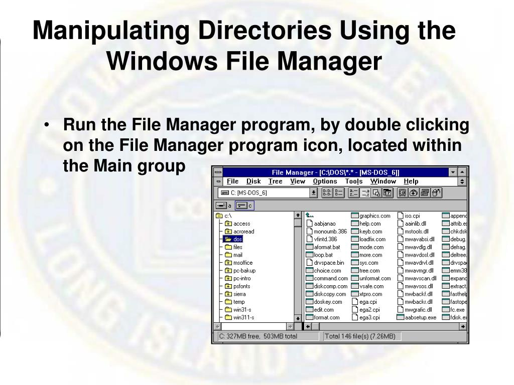 Manipulating Directories Using the Windows File Manager