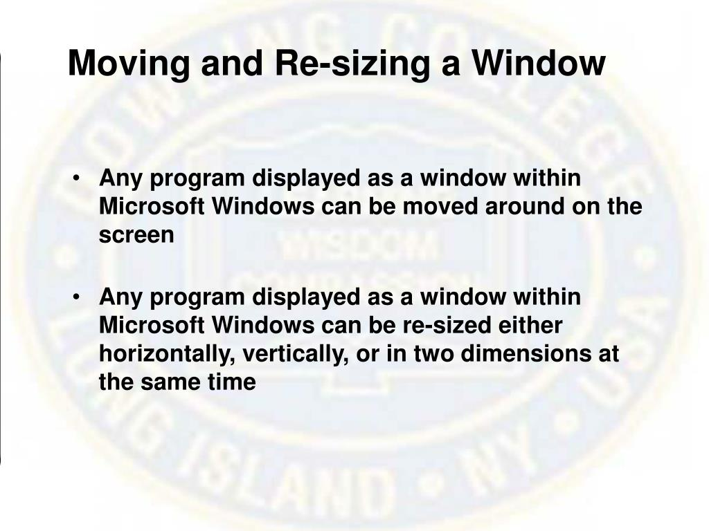 Moving and Re-sizing a Window